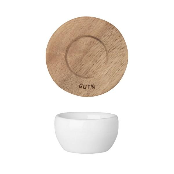 räder Porzelland EIERBECHER mit Akazienholz Unterteller / gutn
