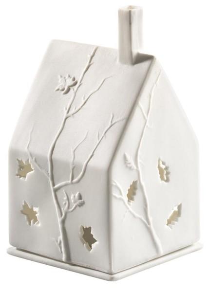 räder Porzellan LICHTHAUS Blätter / 7cm x 7cm x 10cm