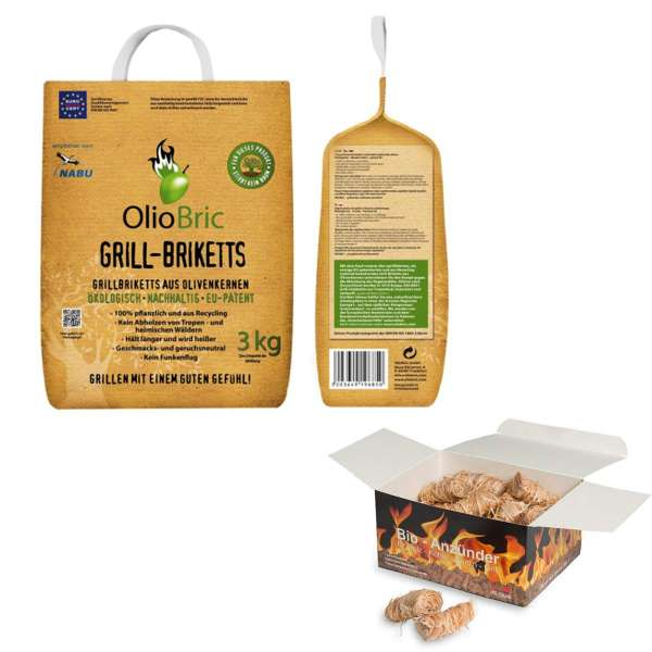 BBQ Komplettset   Gourmet-Grill-Briketts Oliventrester Grillkohle + 45 Ritz Bio Anzünder