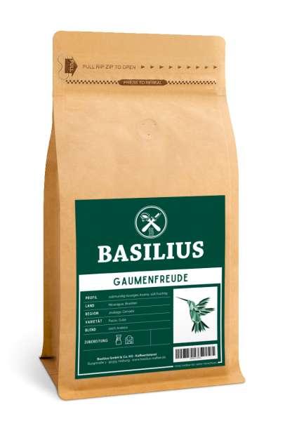 Basilius DIE GAUMENFREUDE Ganze Kaffeebohnen | Brasilien & Nicaragua | 100% Arabica