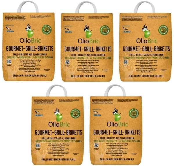 OlioBric 15kg Gourmet Grill Briketts | Oliventrester Grillkohle | nachhaltig | kein Rauch
