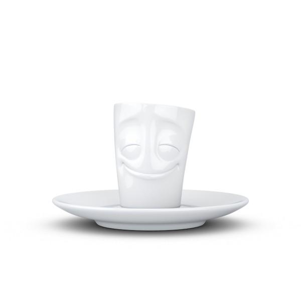 Fiftyeight Espressotasse Mini Mug VERGNÜGT 80ml / weiß