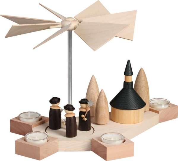 Seiffener Volkskunst Pyramide Octogonum / Weihnachtssänger mit Kirche / 23 cm