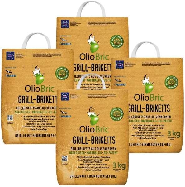 OlioBric 12kg Gourmet Grill Briketts | Oliventrester Grillkohle | nachhaltig | kein Rauch