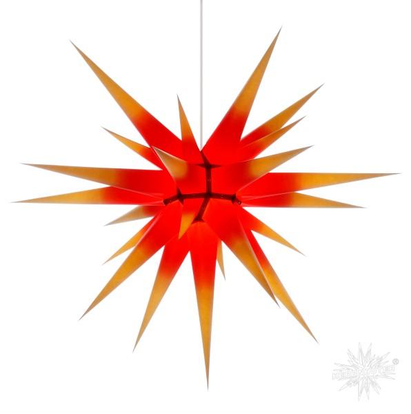 herrenhuter sterne herrnhuter adventsstern papier i8 ca a80 cm gelb mit rotem kern stern kunststoff 68 rot