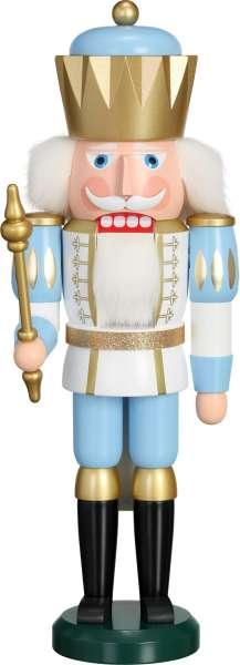 Seiffener Volkskunst Exklusiv Nussknacker KÖNIG 40 cm / weiß-blau