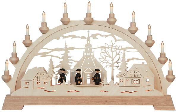 KWO Lichterbogen elektr. Schwibbogen | Seiffener Kirche mit Figuren | Breite: 65 cm