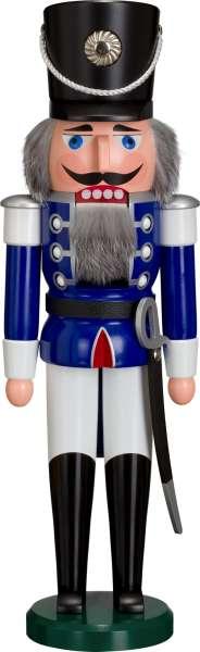 Seiffener Volkskunst Nussknacker HUSAR 50 cm / blau