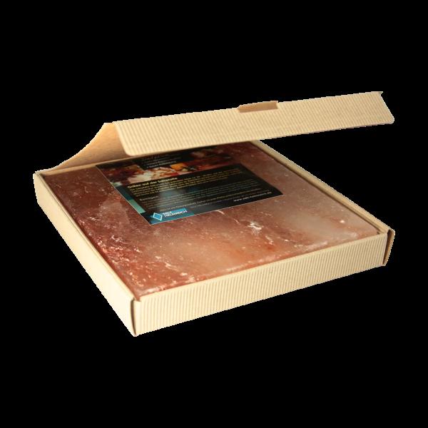 BBQ Salzstein aus Himalayasalz | 20 x 20 x 2,5 cm | mehrfach verwendbar | im Geschenkkarton