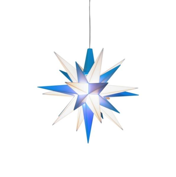 Herrnhuter Sterne LED ADVENTSSTERN Kunststoff A1e ca. Ø13 cm | blau-weiß
