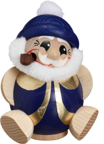 Seiffener Volkskunst Kugelräucherfigur Nikolaus / 11 cm / blau-gold