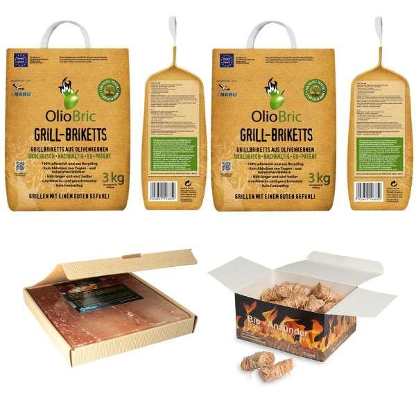 BBQ-Set | Grillset | Geschenkset mit 6kg Grillbriketts & 45St. Anzünder & Himalaya Salzstein