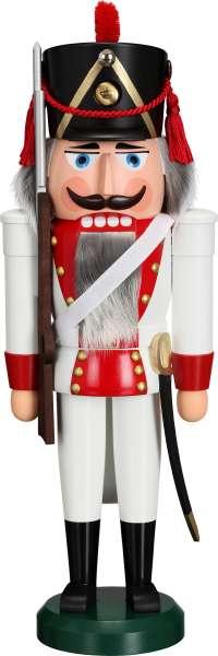 Seiffener Volkskunst Nussknacker GRENADIER rot / 39 cm