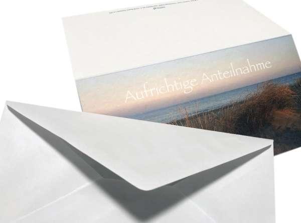Hochwertige Trauerkarten AUFRICHTIGE ANTEILNAHME Kondolenzkarten  dezent gestaltet mit Umschlag