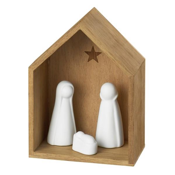 räder Holzhäuser Kleine Krippe mit Figuren