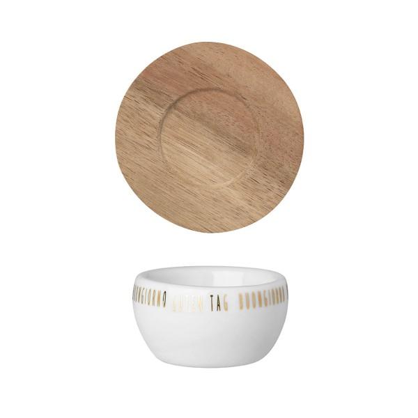 räder Porzelland EIERBECHER mit Akazienholz Unterteller / neutral