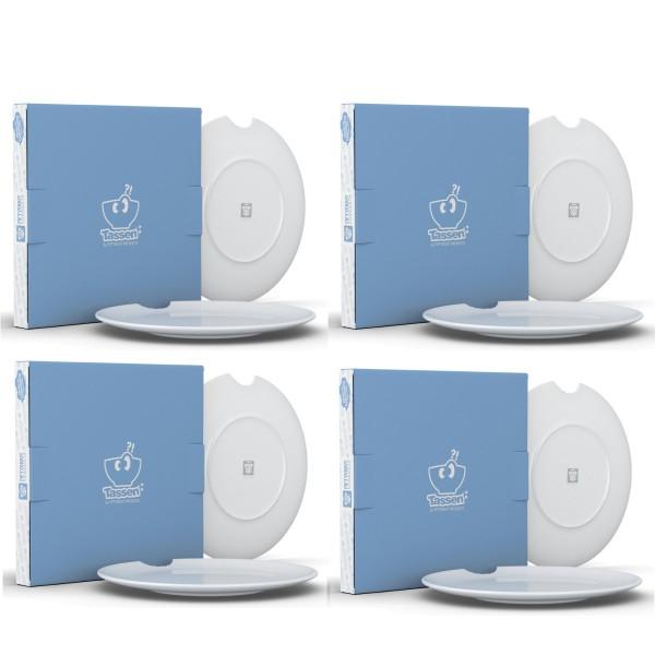 Fiftyeight 8er Set SPEISETELLER MIT BISS (Ø 28 cm) / weiß