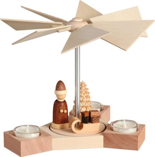 Seiffener Volkskunst Pyramide Hexagonum / Weihnachtsmann mit Schlitten / 20 cm