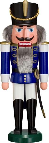 Seiffener Volkskunst Nussknacker HUSAR 37 cm / blau