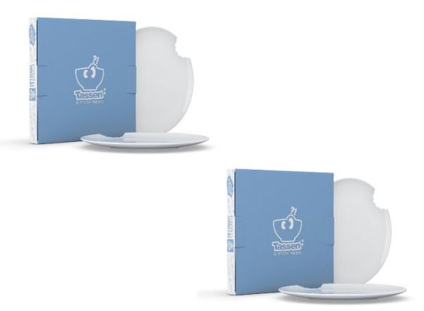 Fiftyeight 4er Set KUCHENTELLER MIT BISS (Ø 20 cm) / weiß