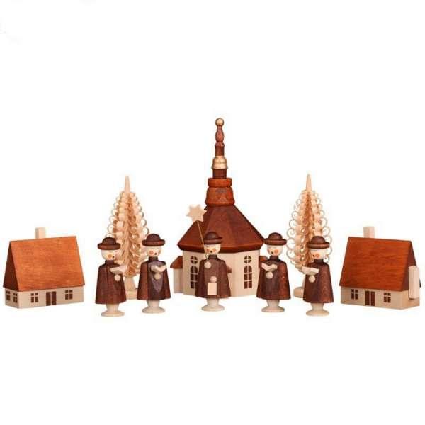 Seiffener Volkskunst Miniaturen SEIFFENER DORF MIT KURRENDEFIGUREN / 12 cm