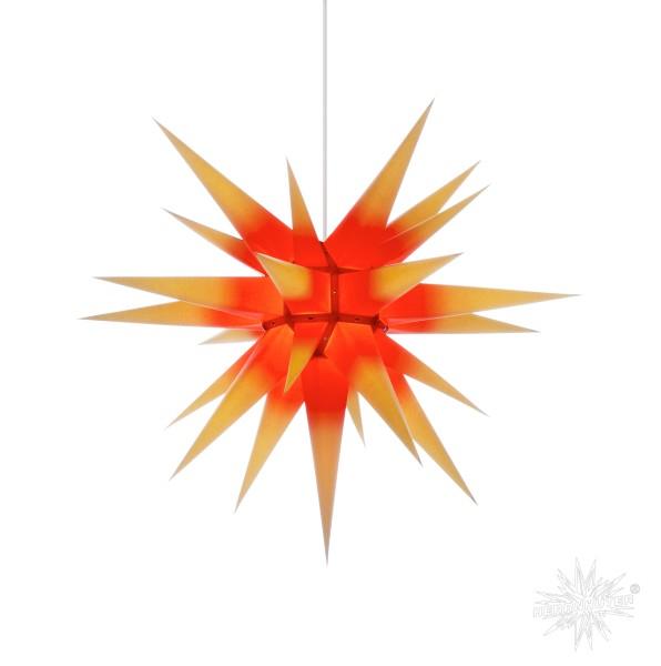 Herrnhuter Sterne ADVENTSSTERN Papier I7 ca. Ø70 cm   gelb mit rotem Kern