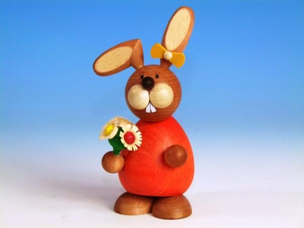 Paul Ullrich OSTERHÄSIN stehend mit Blumenstrauß / ca. 12 cm
