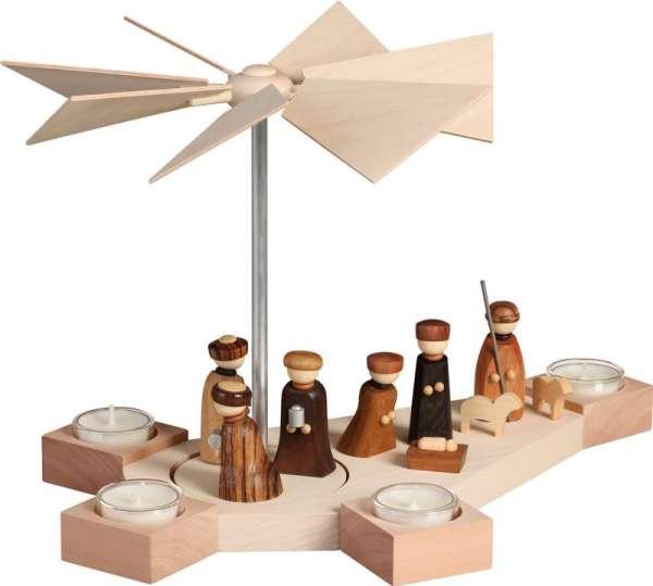 Seiffener Volkskunst Pyramide Octogonum Christi Geburt / 23 cm
