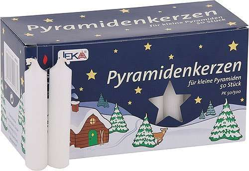 EWA Kerzen PYRAMIDENKERZEN weiß für Advents- & Weihnachtspyramiden / 50 Stück