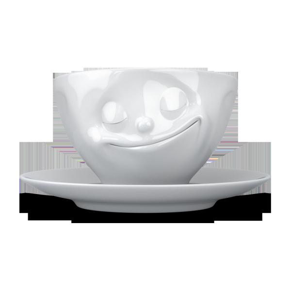 Fiftyeight Kaffeetasse GLÜCKLICH ca. 200ml / weiß