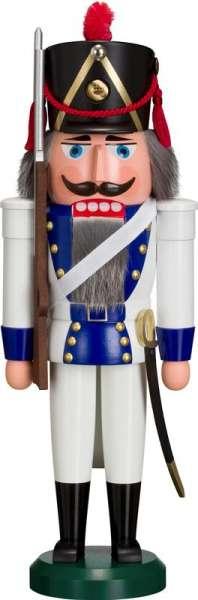 Seiffener Volkskunst Nussknacker GRENADIER blau / 39 cm