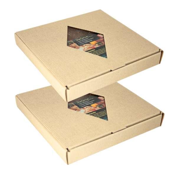 BBQ Salzstein aus Himalayasalz | 2er Set | 20x20x2,5cm | mehrfach verwendbar | im Geschenkkarton