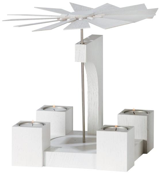 KWO Tischpyramide Teelichte Eiche weiß lackiert / 19 cm
