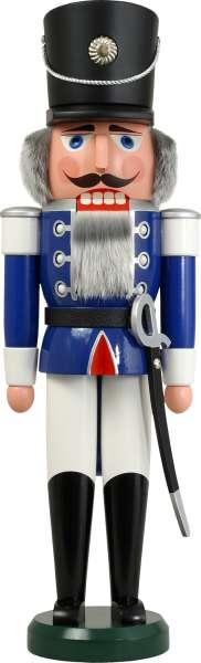Seiffener Volkskunst Nussknacker HUSAR 60 cm / blau