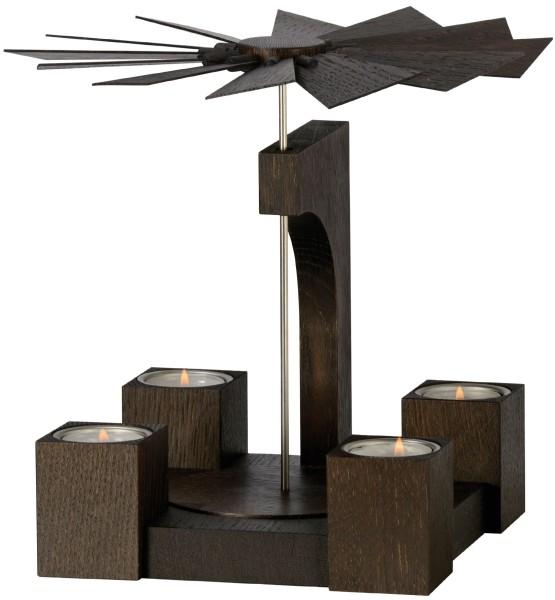 KWO Tischpyramide Teelichte Mooreiche lackiert / 19 cm