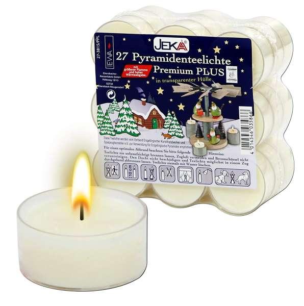 EWA Kerzen Premium PYRAMIDEN TEELICHTE für Advents- & Weihnachtspyramiden / 27 Stück
