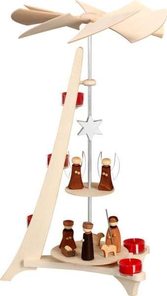 Seiffener Volkskunst Pyramide L-Form / Christi Geburt und Engel / 50 cm